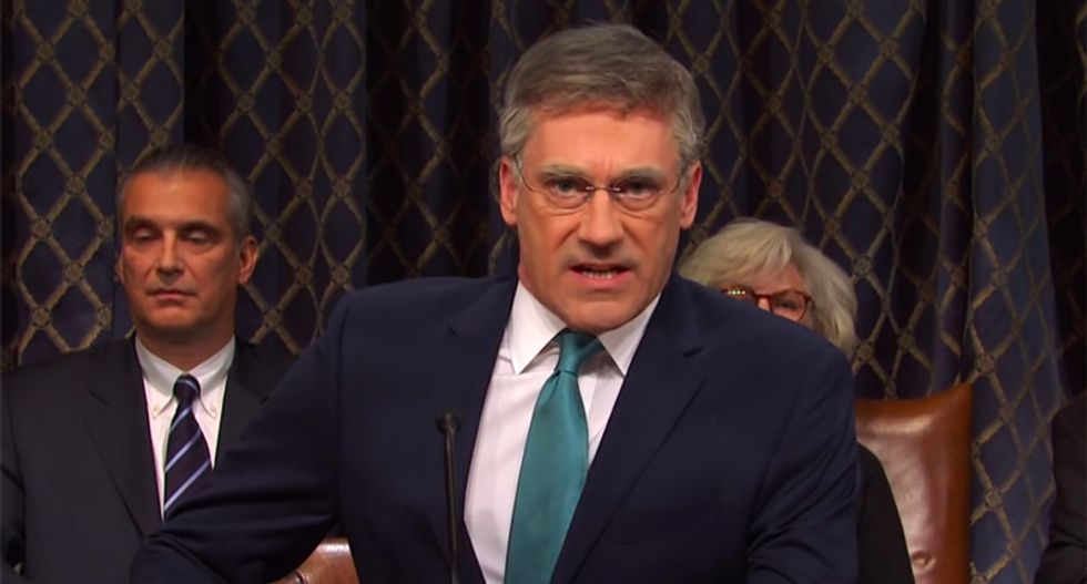 SNL mocks 'boring' impeachment hearings with overly dramatic version featuring Jon Hamm as a feisty Bill Taylor