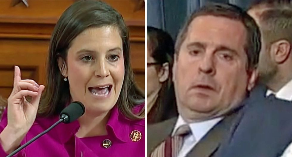 WATCH: Dejected Devin Nunes slumps back in his chair after he fails to yield his time to Elise Stefanik