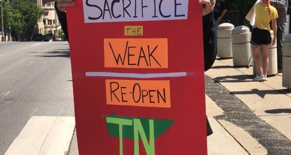 Tennessee anti-lockdown protester demands state 'sacrifice the weak' to reopen economy