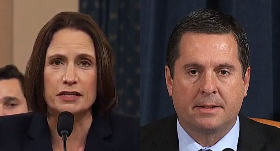 Viewers astonished as Fiona Hill rips apart the falsehoods spread by 'bloody nitwit' Devin Nunes on live TV