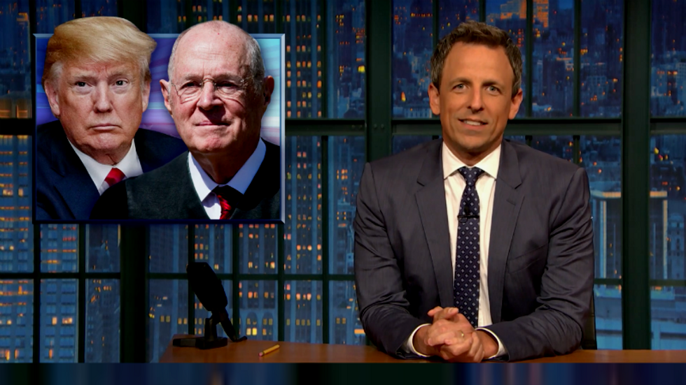 Seth Meyers mocks Trump for forgetting Justice Kennedy's name: 'No wonder he puts his name on buildings'