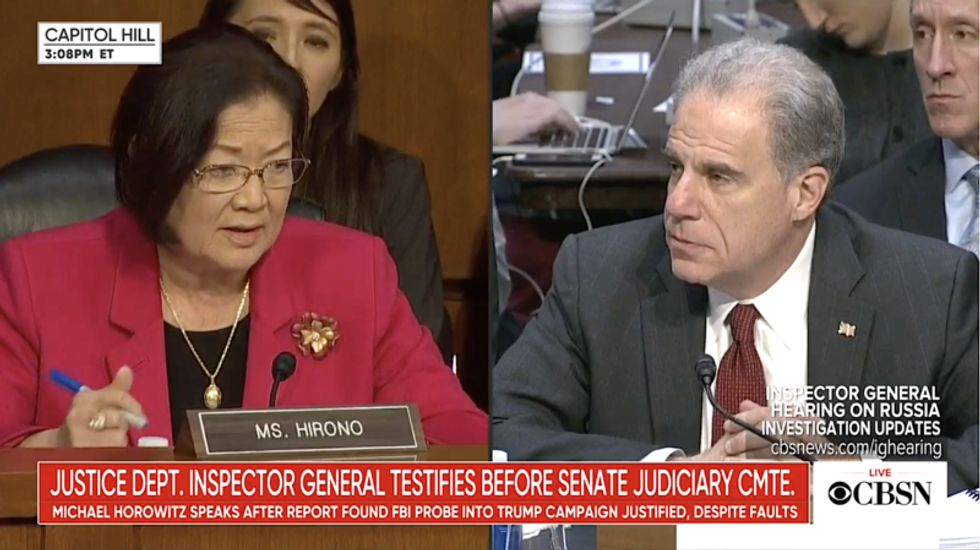 Sen. Hirono gets Inspector General to admit Bill Barr's claim the FBI 'spied' on Trump campaign is false