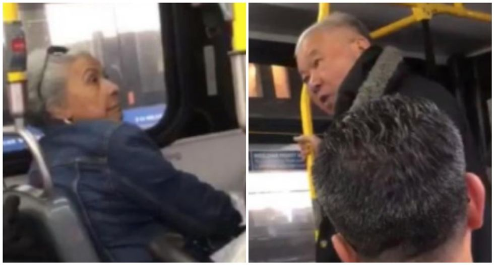 WATCH: Hispanic woman keeps her cool as racist Asian man demands her seat on NYC bus