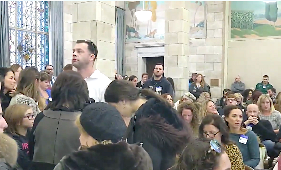 WATCH: Anti-vaxxers show up in the wrong room to protest a vaccine exemptions bill -- and refuse to leave