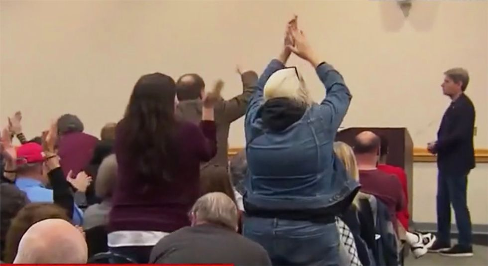WATCH: Town hall crowd explodes into applause as New Jersey lawmaker announces he will vote for Trump impeachment