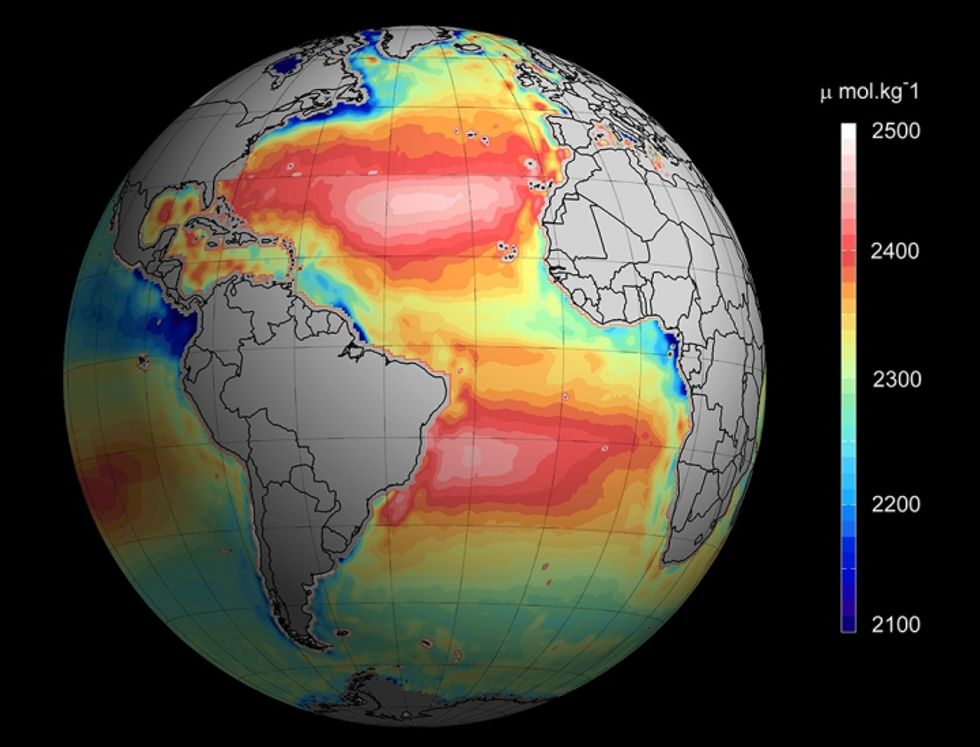 Temperature and salinity measurements averaged between 2010 and 2014 to show ocean alkalinity. Credit: ESA