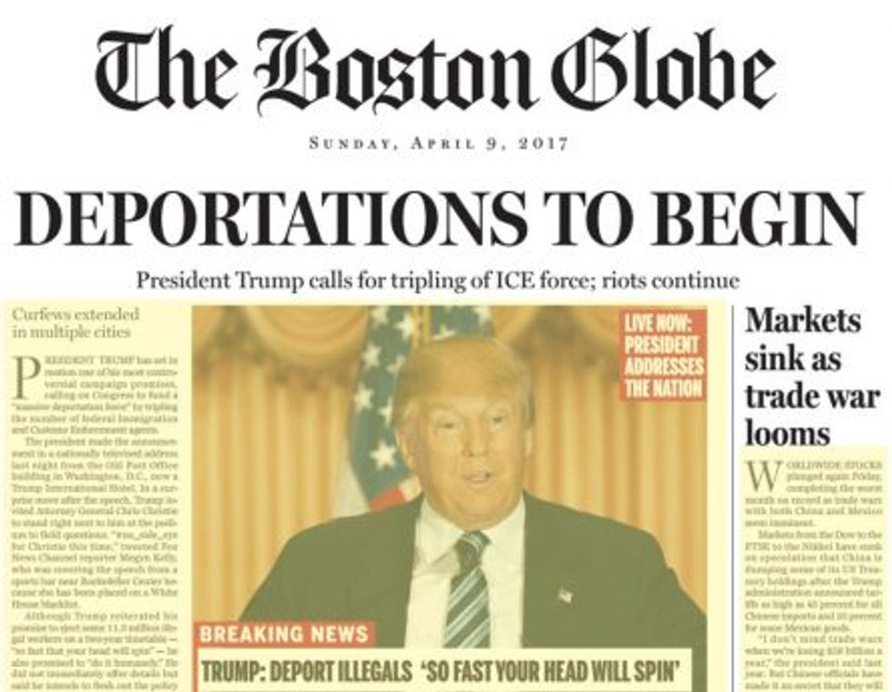 Boston Globe satirical front page