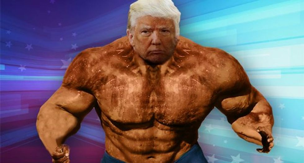 Orange Hulk-Trump with tiny hands (Photo: Seth Meyers via screen capture)
