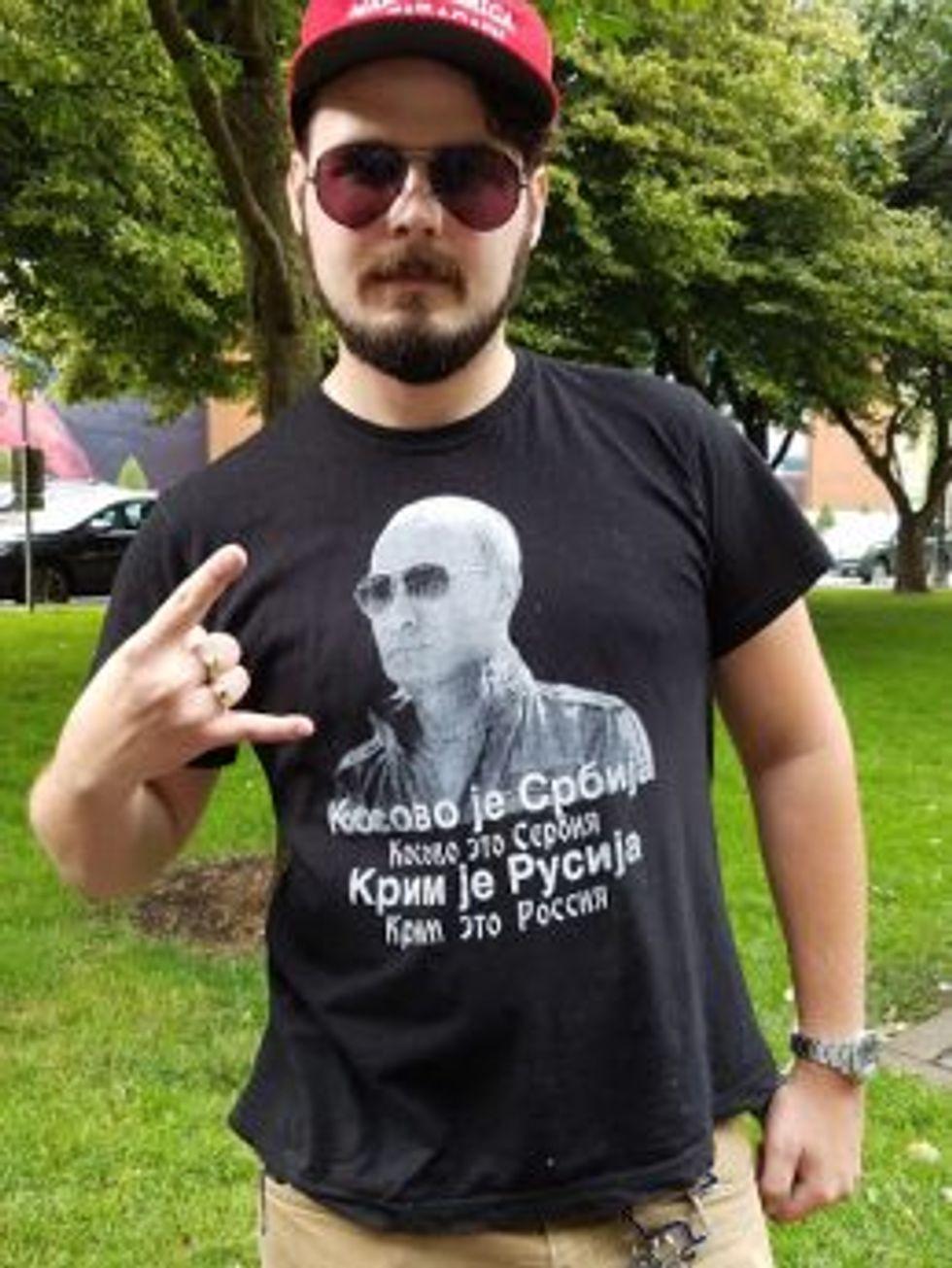 This is Timmy Matlock,. The shirt says: Kosovo is Serbian / Crimea is Russian (Image Credit: Arun Gupta)