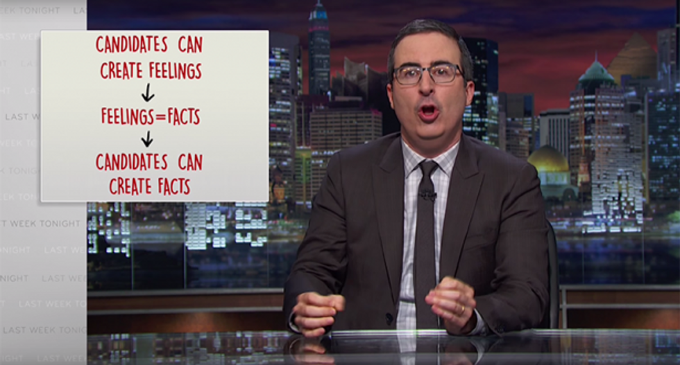 John Oliver on candidates creating facts from feelings (Photo: Screen capture)