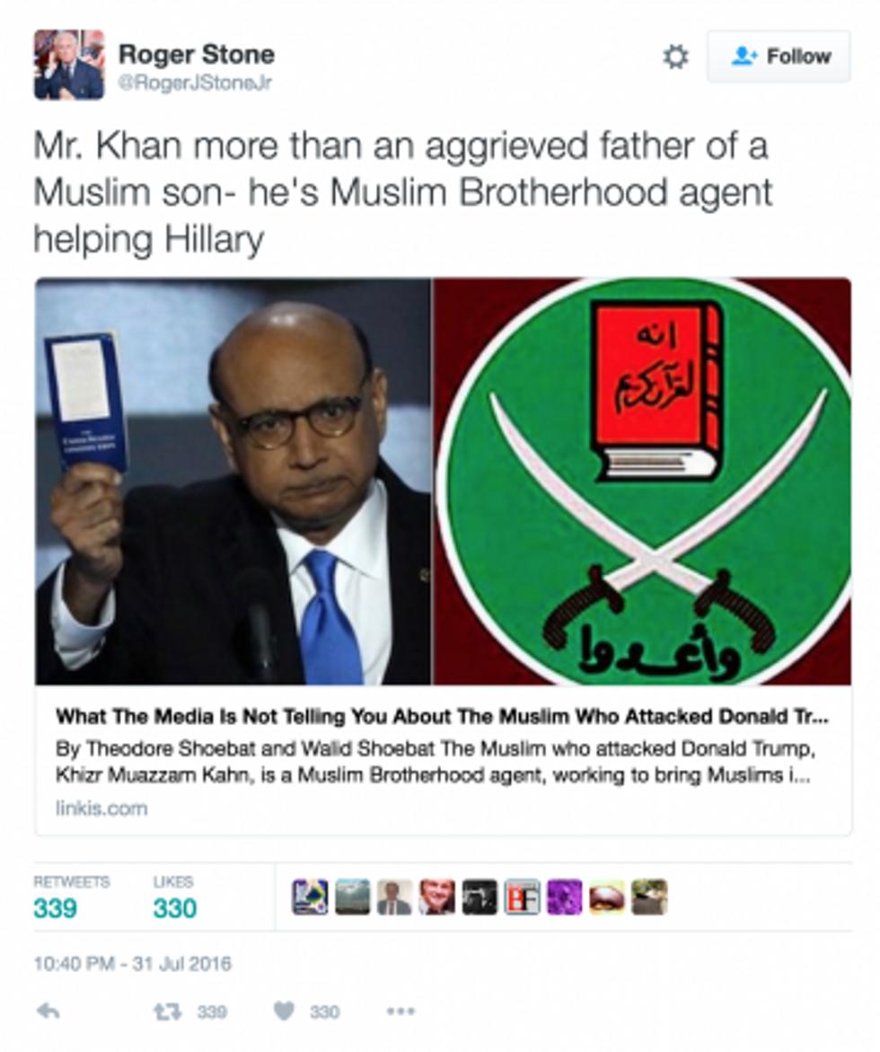 Screen capture of Roger Stone tweet July 7, 2016.