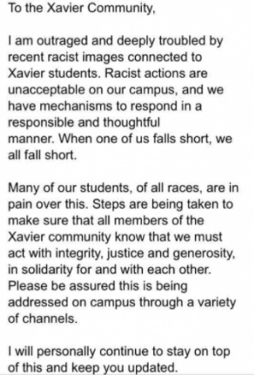 Email from Xavier University president Michael J. Graham, S.J.