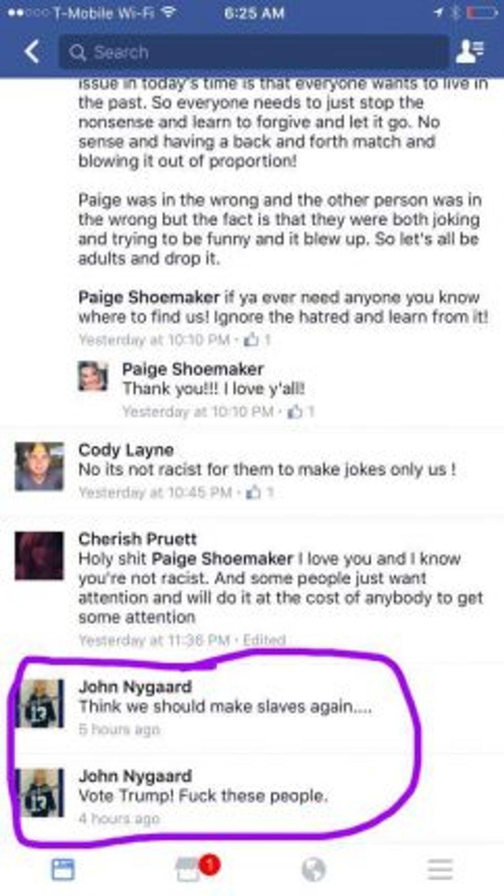 Screen capture of John Nygaard comments