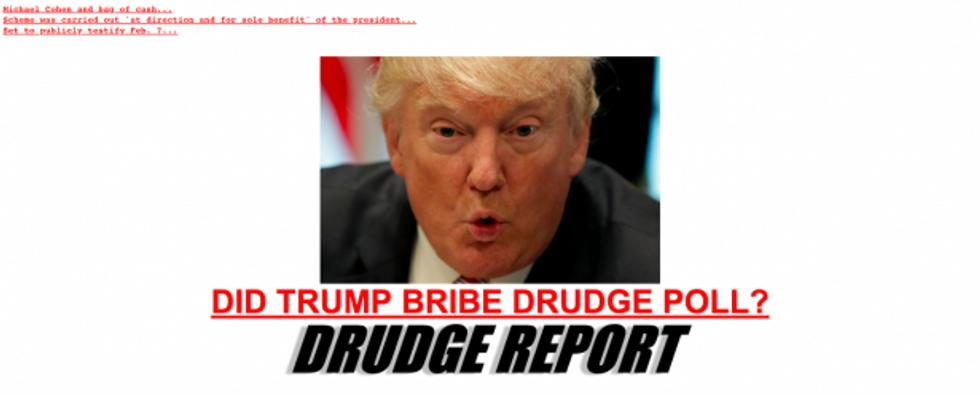 Drudge report pissed about trump rigging polls