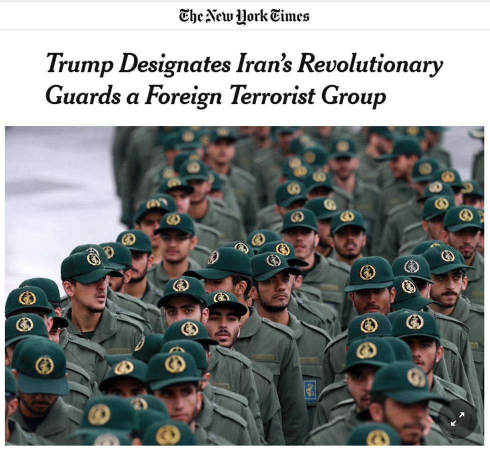 NYT: Trump Designates Iran's Revolutionary Guards a Foreign Terrorist Group