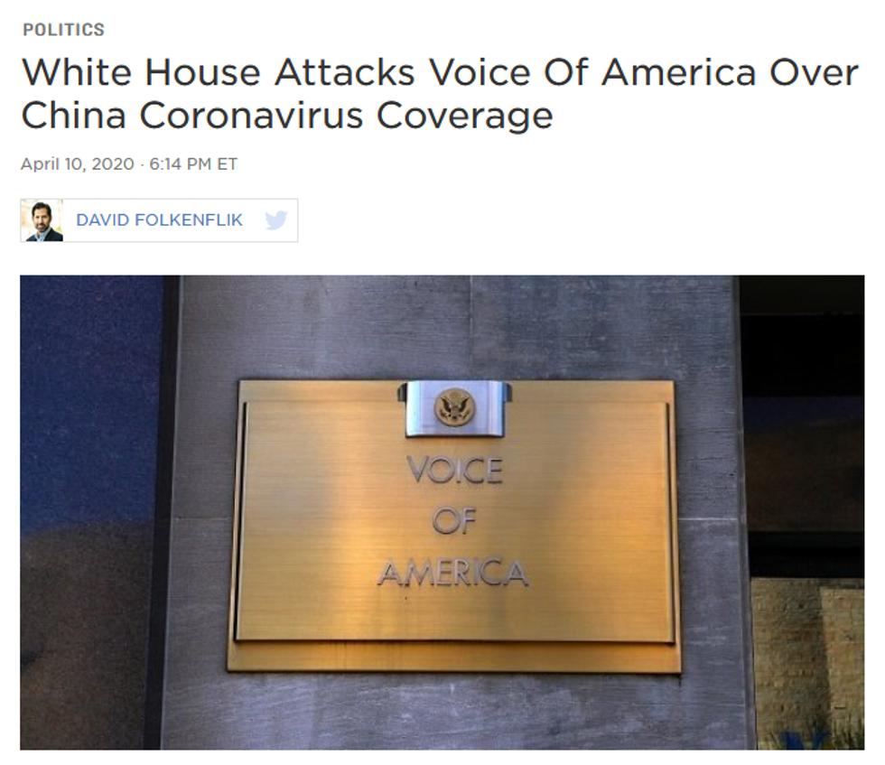 NPR: White House Attacks Voice Of America Over China Coronavirus Coverage