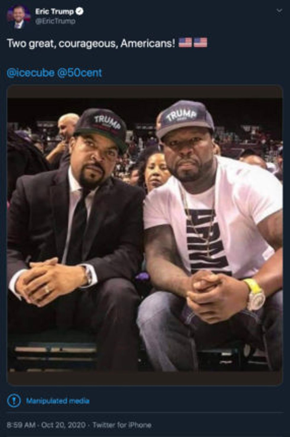 Ice Cube and 50 Cent appear in digitally manipulated photograph shared by Eric Trump (Twitter)