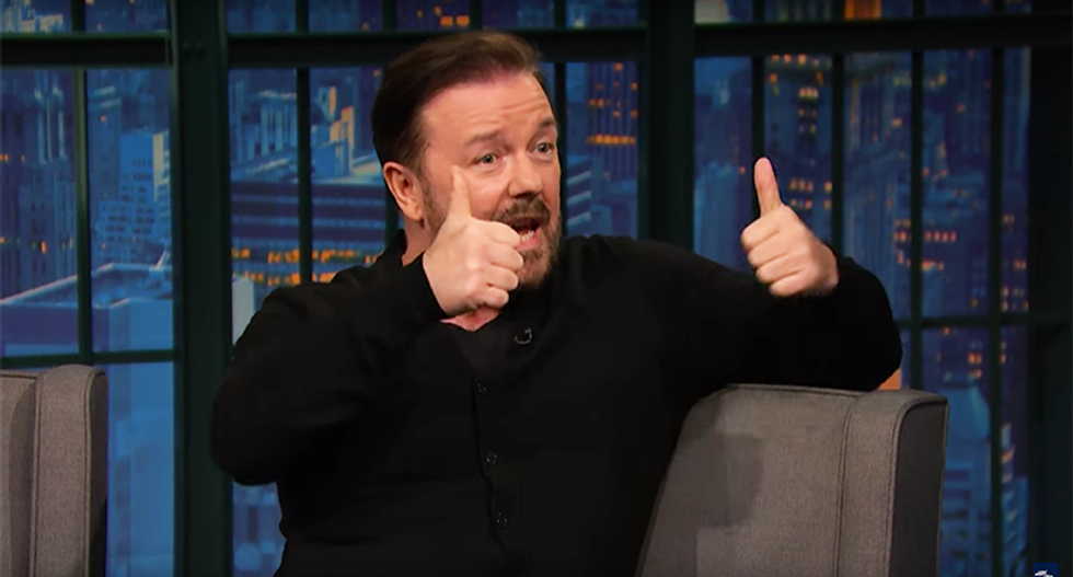 Ricky Gervais can't understand Trump's duped supporters: 'Why are they falling for drain the swamp?'