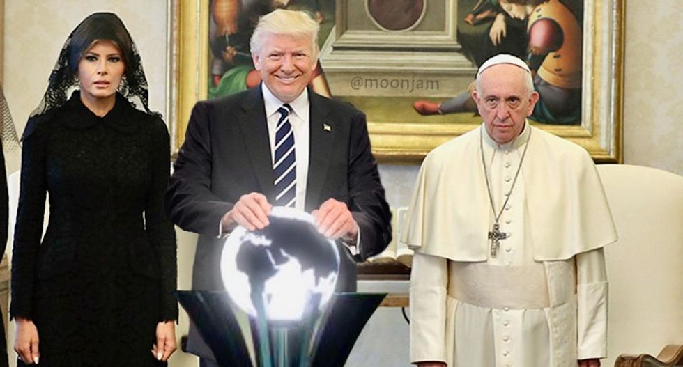 Trump met a very unhappy pope, and the Photoshop treatments were immediate and divine