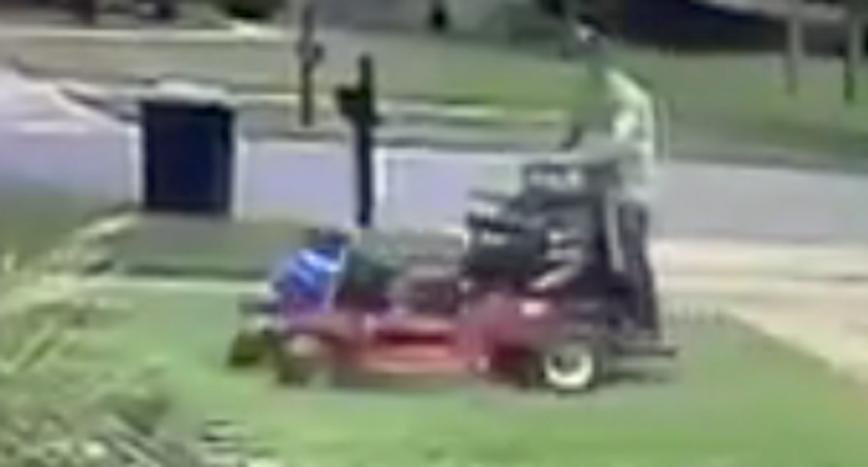 WATCH: Landscaper infuriates Florida man by running over his Trump sign with lawnmower -- repeatedly