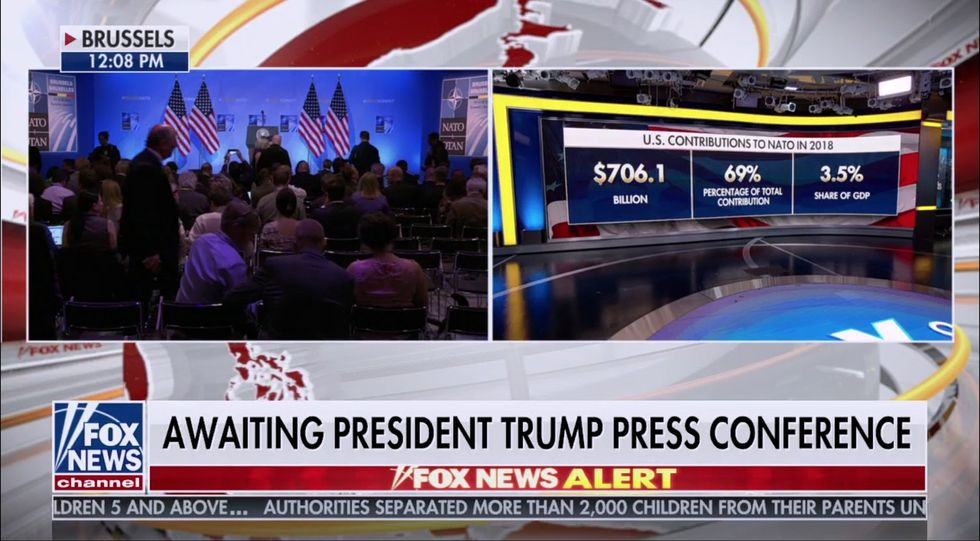 Fox News claims entire US defense budget goes to NATO minutes before Trump lies and says US funds 90 percent of NATO