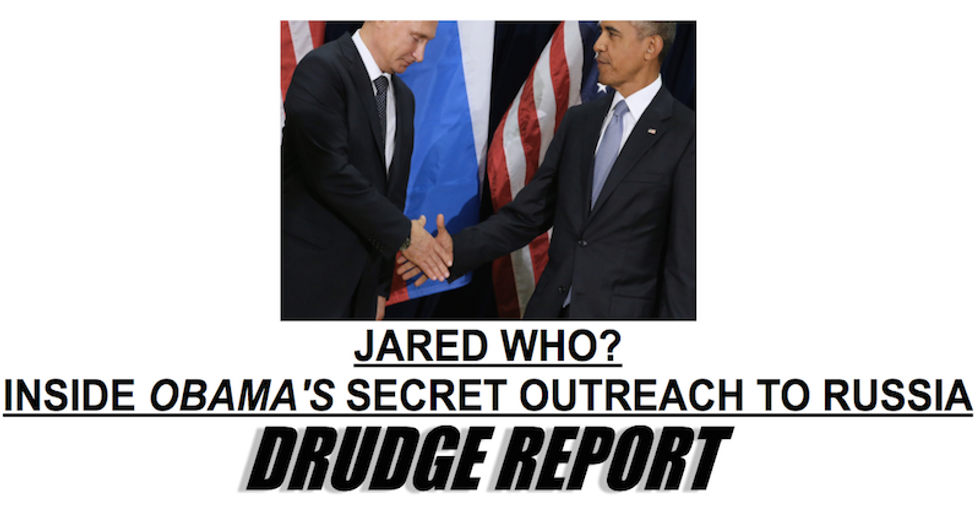 Bots push two-year-old story on Obama and Russia all the way to the top of today's Drudge Report