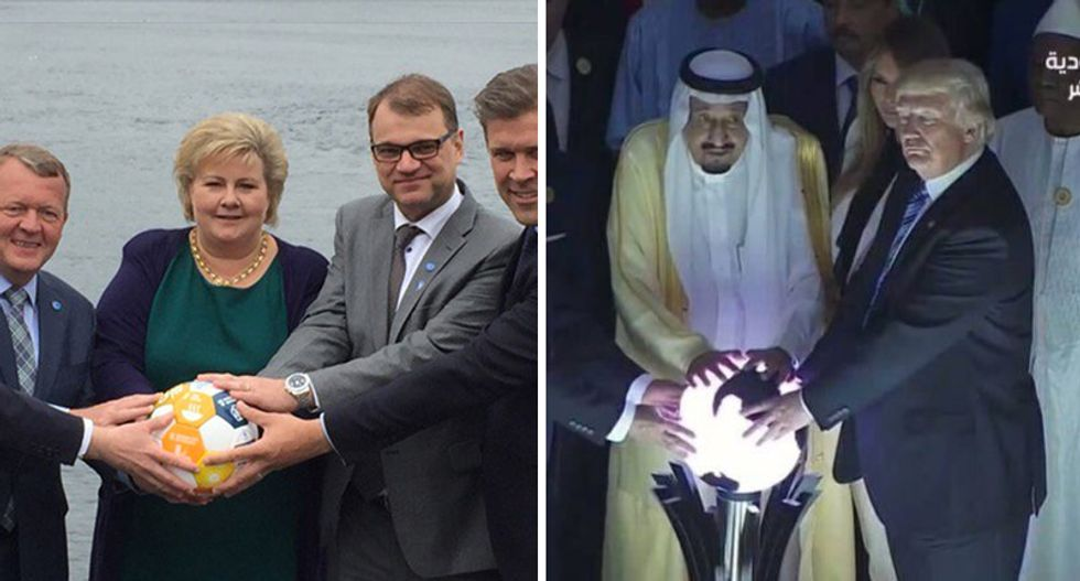 'Everyone is laughing -- at Trump': Internet loves Nordic leaders for trolling Trump's magic orb photo