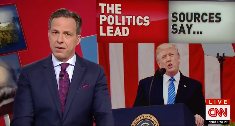'Consider the source': CNN's Jake Tapper shreds Trump for whining about fake news