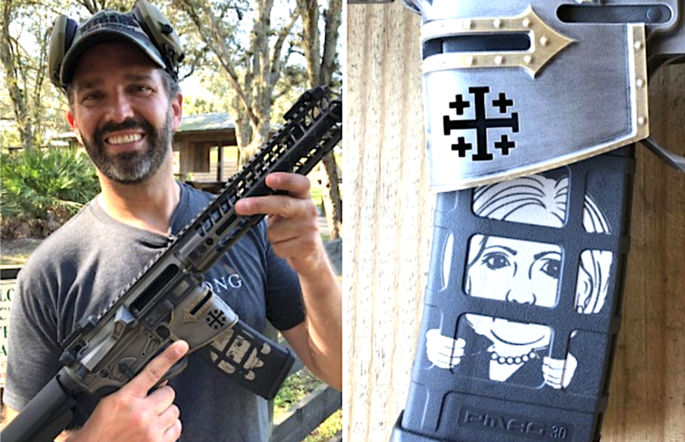 Donald Trump Jr. posts photo of himself holding gun decorated with inflammatory depiction of Hillary Clinton
