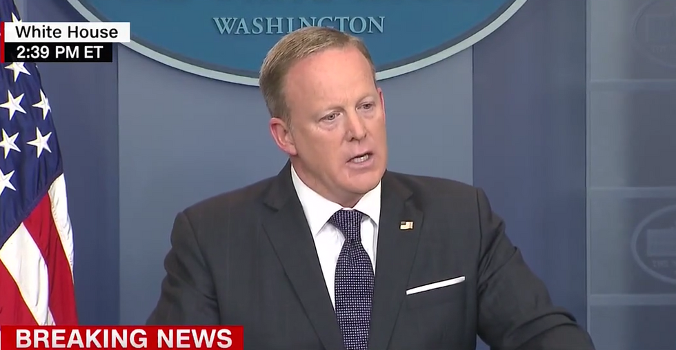 'That's just fake!': Sean Spicer implodes while sparring with reporters about 'fake news'