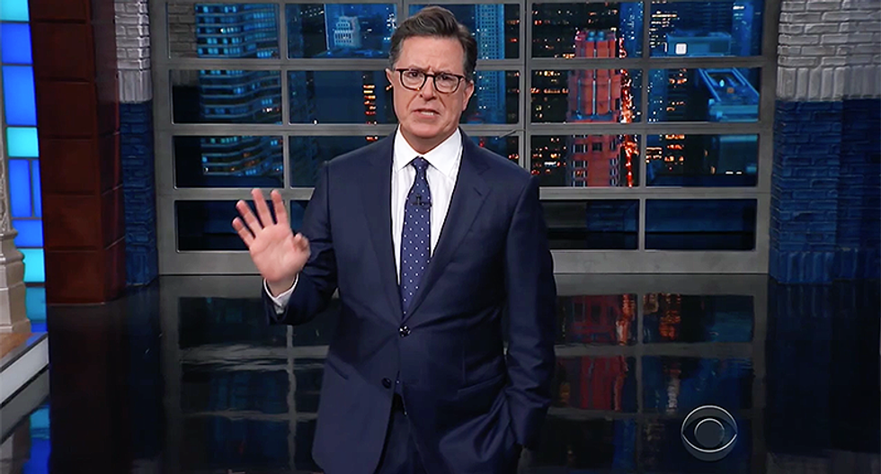 Watch: Stephen Colbert hilariously mocks 'doughboy' Trump's trip to Paris for military parade