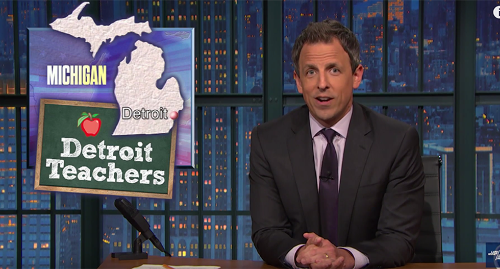 Seth Meyers shreds Detroit's shady school system: You have to pay your teachers for teaching