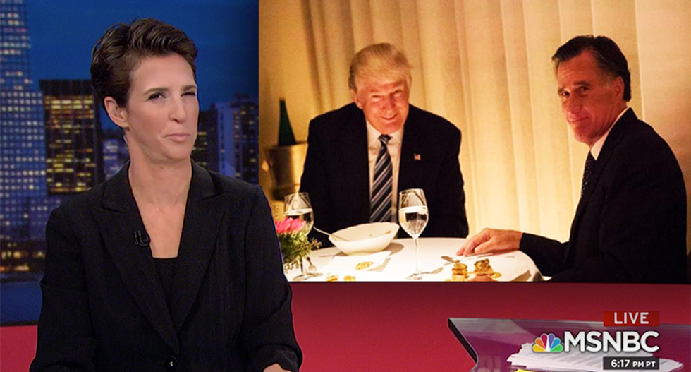 MSNBC's Rachel Maddow demands to know how Russia knew Trump was thinking of appointing Mitt Romney