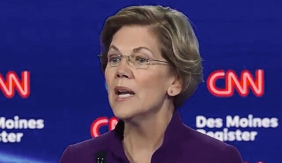 Warren loudly cheered for saying the only candidates on stage 'who have won every single election they've been in are the women'