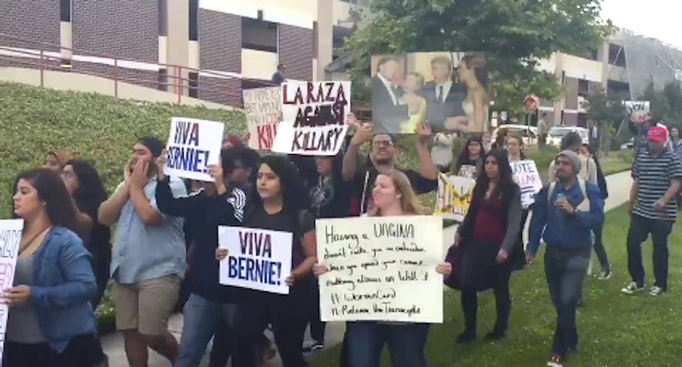 Hordes of Sanders supporters shut down Clinton event in LA: 'She's not with us!'