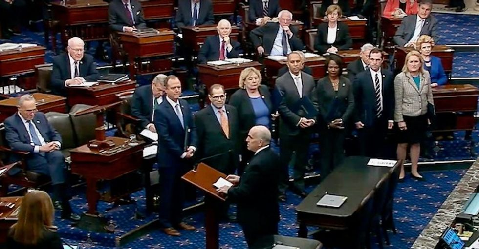 Impeachment trial senators swear an oath aimed at guarding 'against malice, falsehood, and evasion'