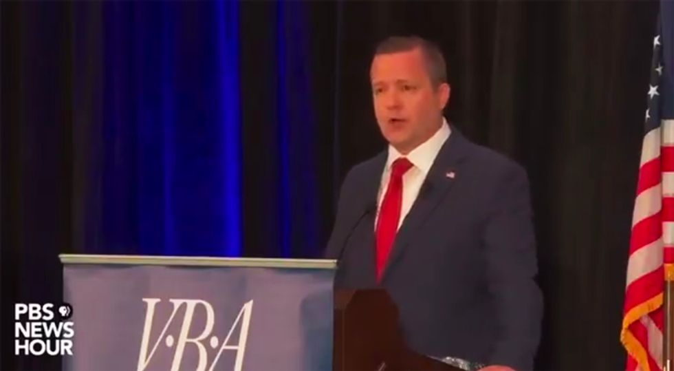 WATCH: Virginia GOP US Senate candidate drowned out by debate audience laughter for saying Trump is 'standing up to Russians'