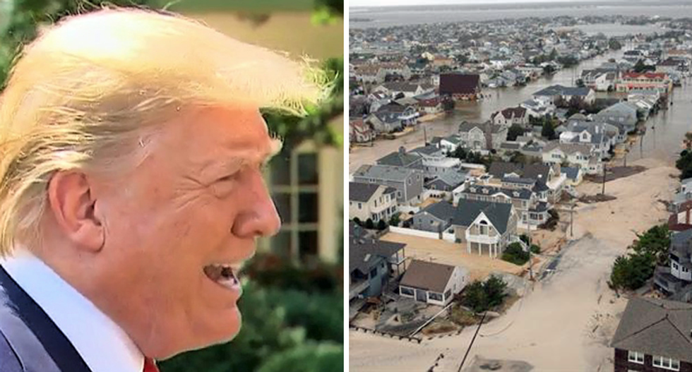 Trump urges 'mops and buckets' as his superior response to rising sea levels from climate change