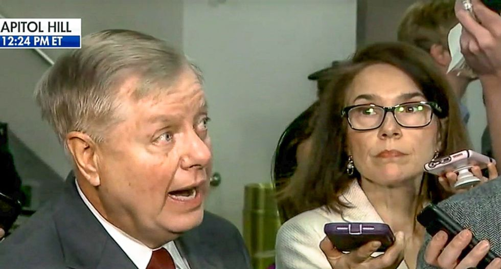 Lindsey Graham screeches at reporters over impeachment: Trump 'did nothing wrong in his mind'