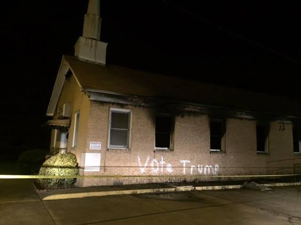 Vandals torch black church in Mississippi -- and spray paint 'VOTE TRUMP' on the side