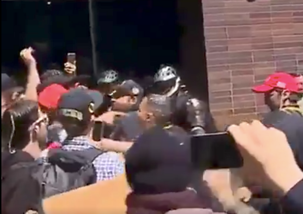 'Neo-Nazis go home!': Violence erupts at anti-Muslim 'Sharia' protest in Seattle