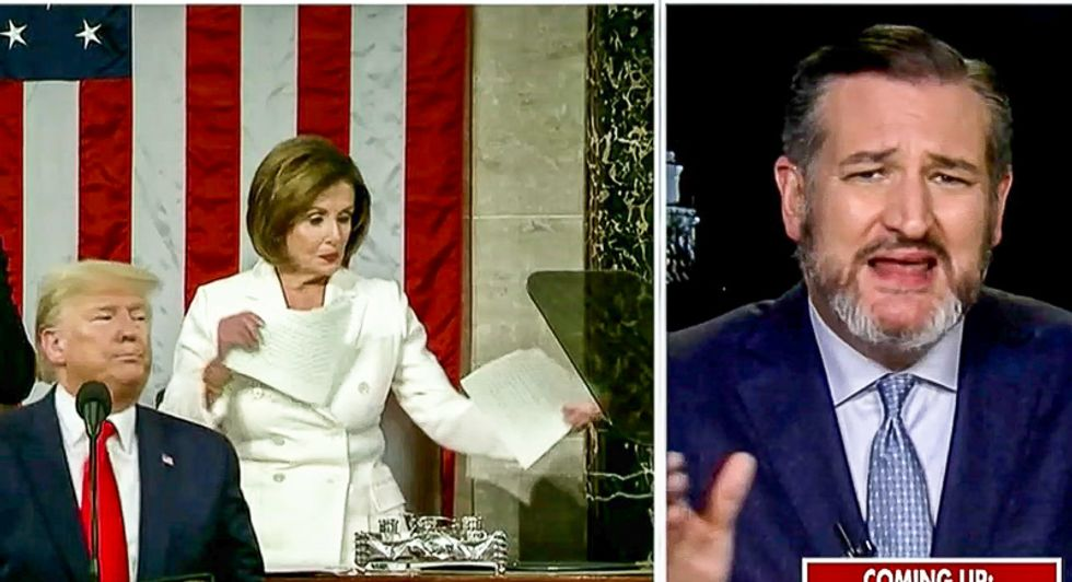 'It made me angry': Ted Cruz blows up at 'disgusting' Nancy Pelosi for ripping up Trump's speech