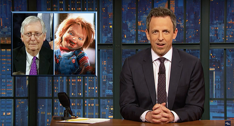 Seth Meyers mocks McConnell's creepy smile during State of the Union that made him look like a possessed doll