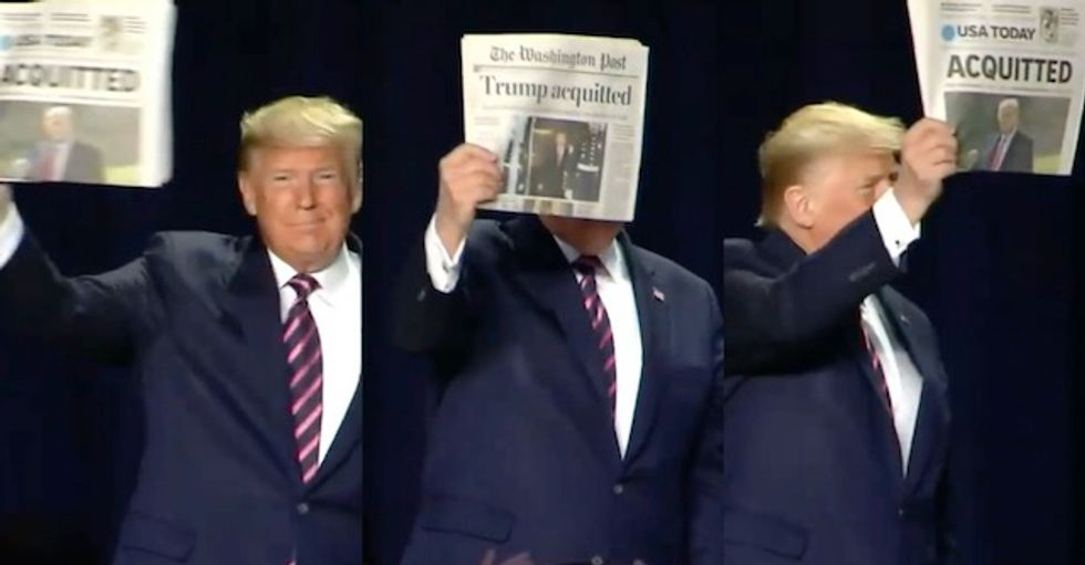 At National Prayer Breakfast Trump waves newspaper to brag about acquittal while Pelosi delivers prayer for poor and persecuted