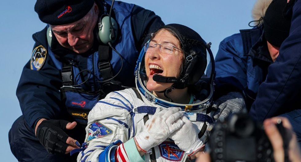 Astronaut Christina Koch back on earth after shattering spaceflight record by a woman