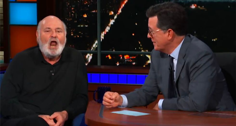 WATCH: Rob Reiner and Stephen Colbert clobber Trump before hilariously mimicking his bumbling way of walking and talking
