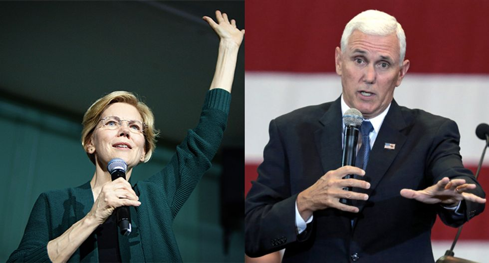 Elizabeth Warren takes hilarious shot at Mike Pence for being Trump's lapdog