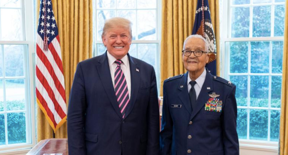 'Trying to make up for removing Vindman?' Trump's photo op with Tuskegee airman backfires
