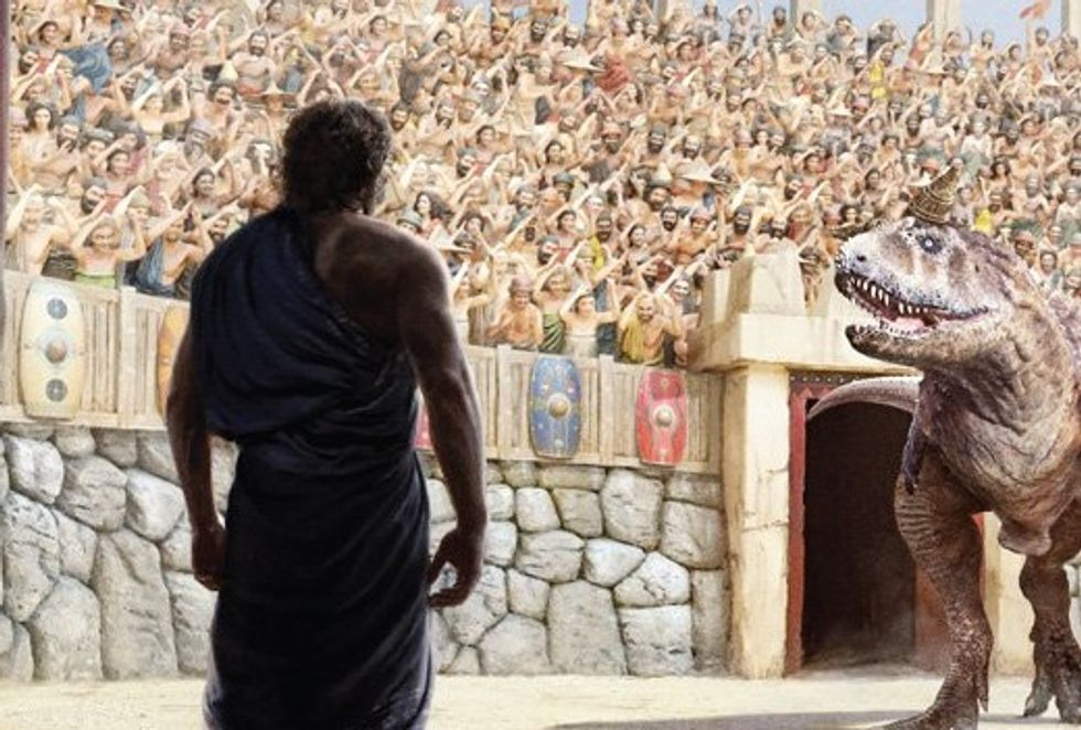 New creationist book features gladiator match between Noah and a tyrannosaurus rex