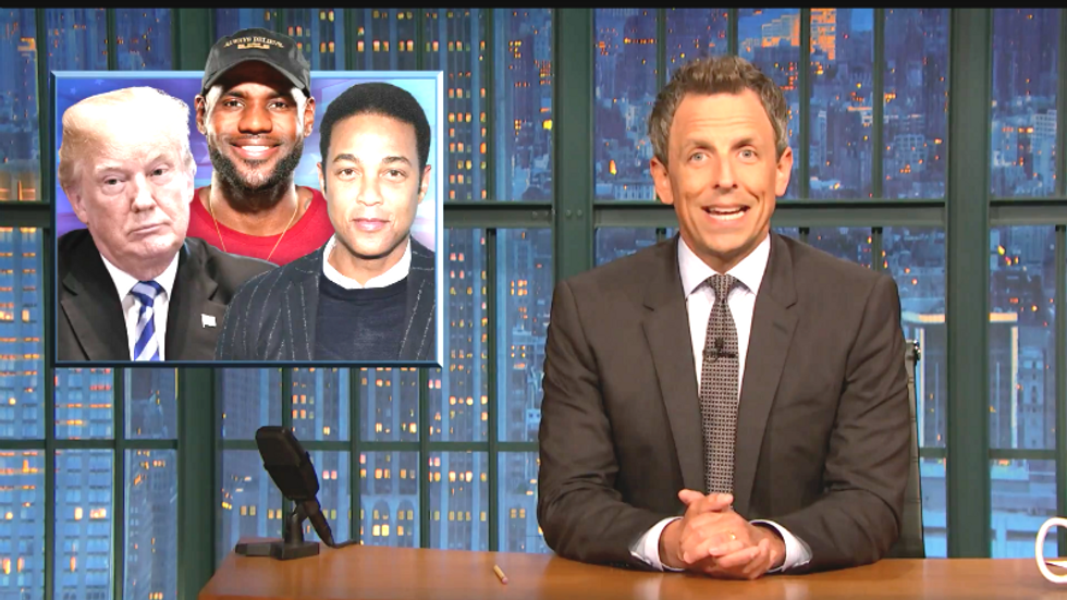 Seth Meyers: 'Trump isn't an at-risk youth but LeBron just took him to school'